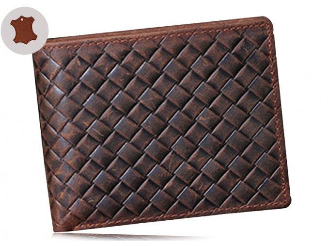 Luxusní peněženka z pravé kůže - s mřížkou jednoduchá