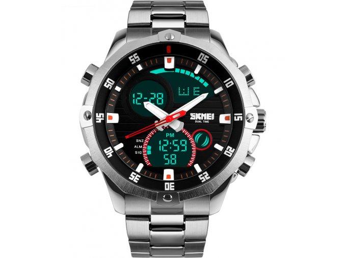 Atraktivní celokovové hodinky Skmei ocelové - čas, datum, chronograf, alarm