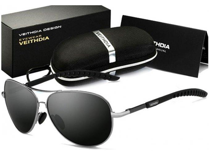 Set: Sluneční brýle Pilot - černé