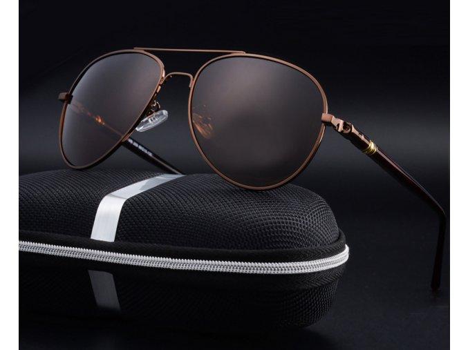 Set: Atraktivní sluneční brýle New Jersey - hnědé