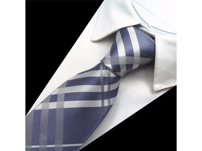 kravata hedvabna modra karovana