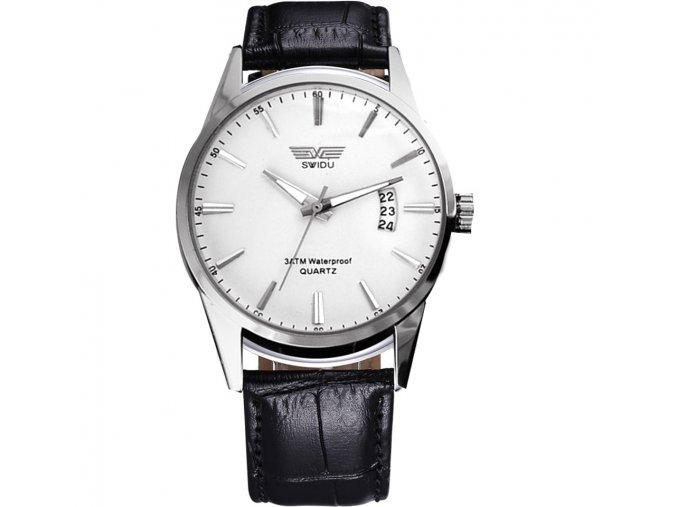Módní pánské hodinky Swidu elegantní s datumem - bílé