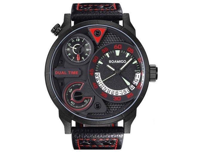 panske hodinky velke cervene cerne kozene sportovni