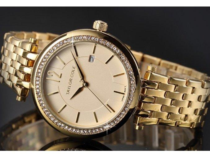 damske znackove hodinky zlate ocelove s kaminky