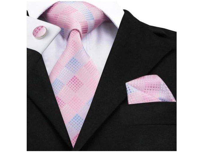 kravatovy set hedvabny ruzovy