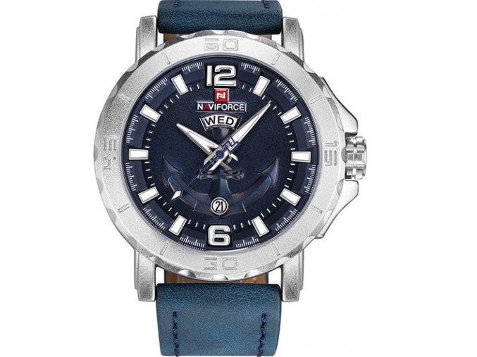velke modre hodinky panske naviforce kozene