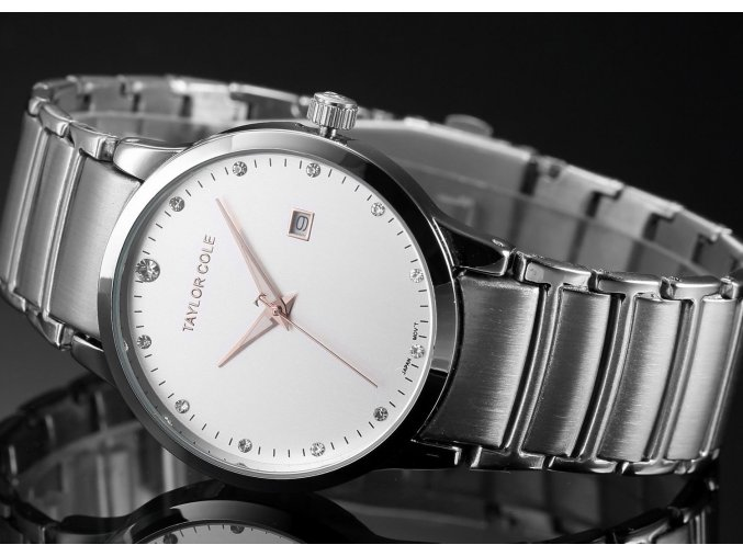 Atraktivní dámské hodinky Taylor Cole Echo s datumem - stříbrné