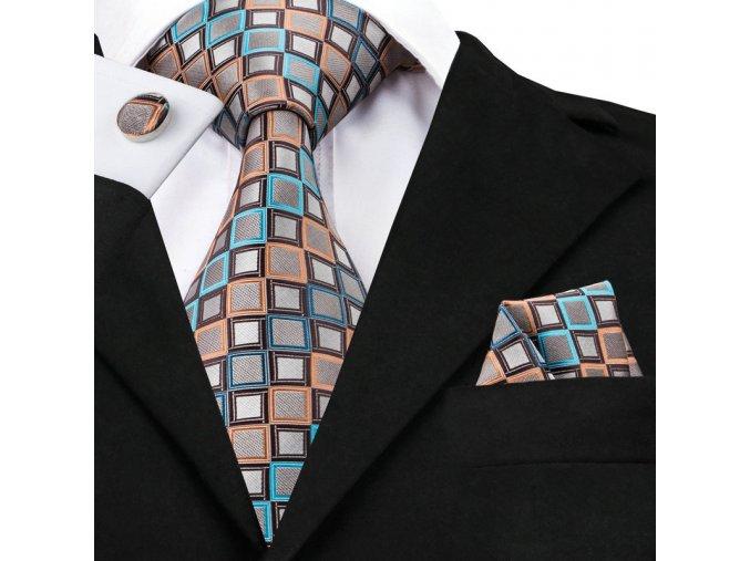 hedvabna kravata set manzety kapesnicek