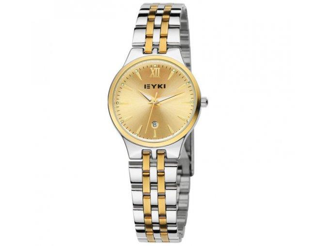 Atraktivní hodinky zn. Eyki ocelové s datumem - stříbrno-zlaté