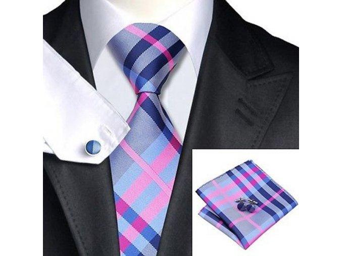 Kravatový set károvaný modro-růžový, 100% hedvábí