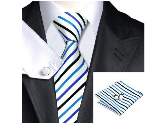 Kravatový set s modrými a černými pruhy, 100% hedvábí