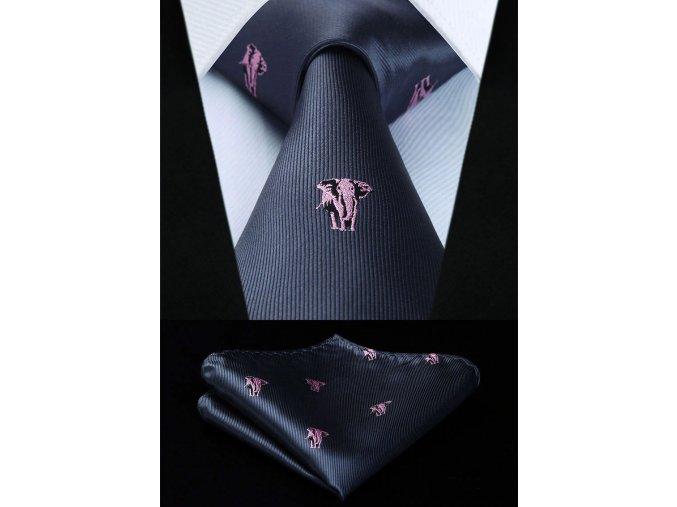 cerna kravata ruzovy slon