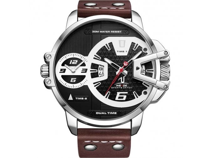 hnede kozene panske hodinky velke velky cifernik
