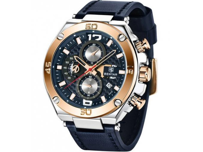 luxusni panske hodinky modre zlate stribrne chronograf datum