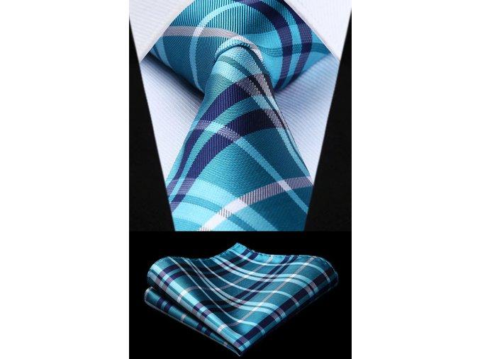 panska modra kravata kapesnicek