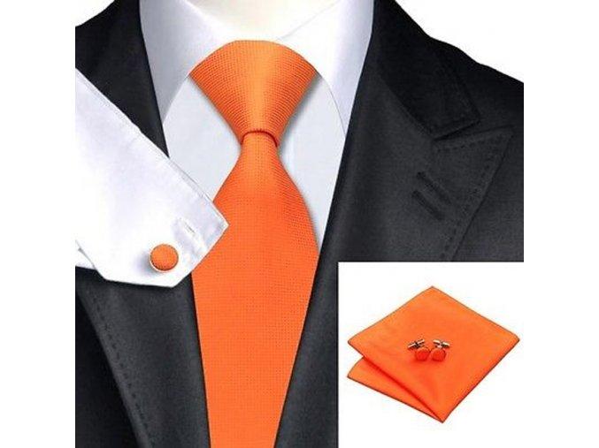 Kravatový set oranžový hladký, 100% hedvábí