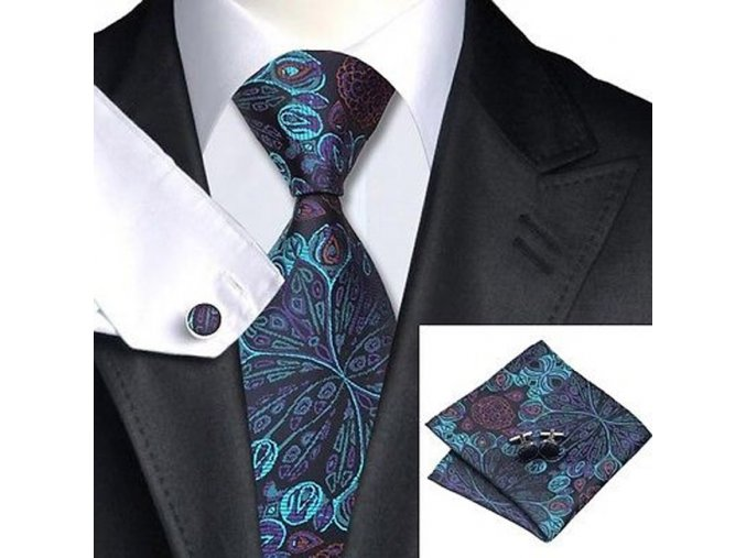 Kravatový set modro-černý s texturou, 100% hedvábí