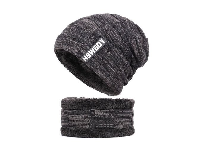 cerna zimni cepice rolak kozisek pletena