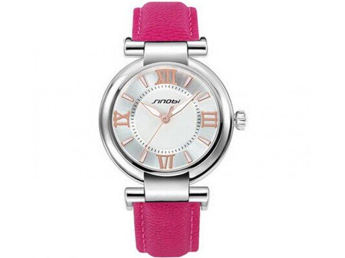 Elegantní hodinky Sinobi - stříbrné růžové