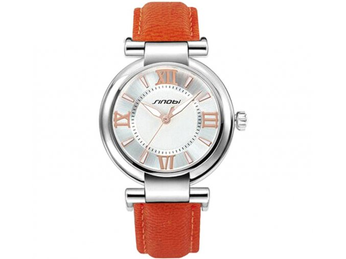 Elegantní hodinky Sinobi - stříbrné oranžové