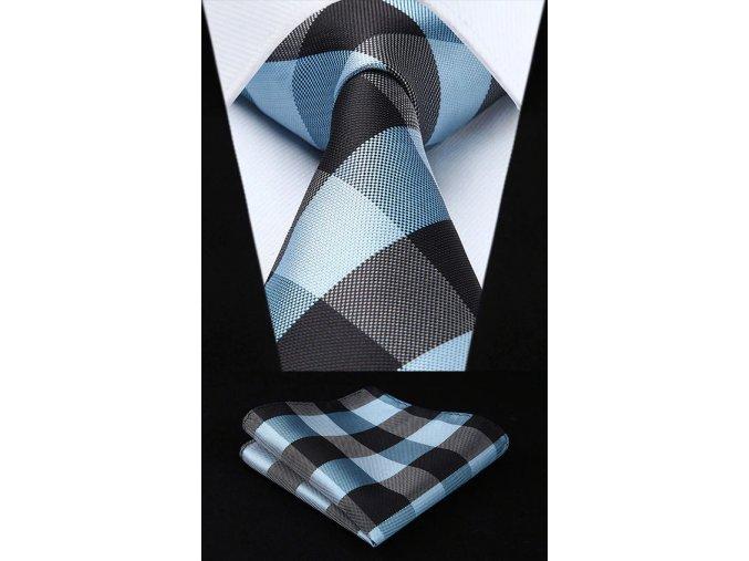 modry kravatovy set karovany