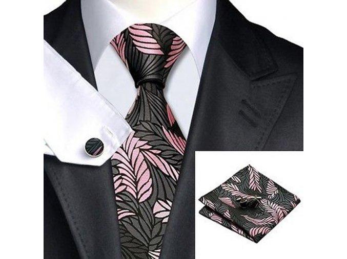 Kravatový set černý s listy, 100% hedvábí