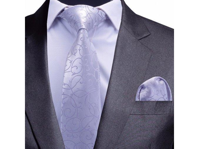 stribrny kravatovy set kravata