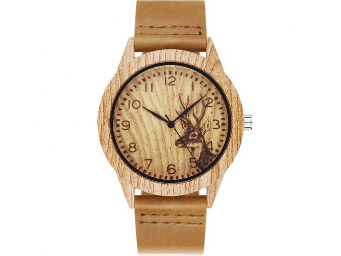 drevene hodinky jelen