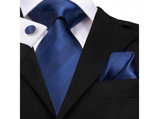 panska modra kravata set kapesnicek