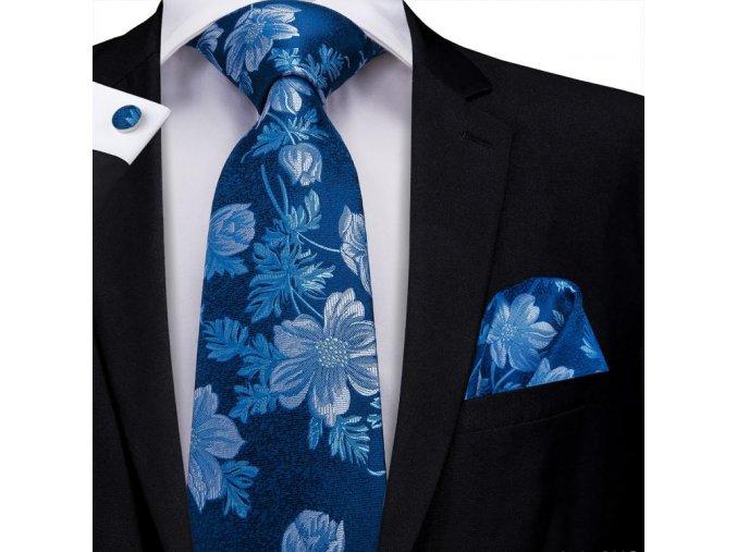 kravatovy set modry kvetinovy