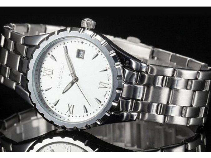 Atraktivní dámské hodinky Taylor Cole Aglaia stříbrné s datumem
