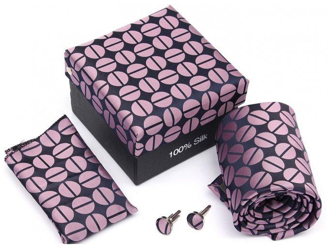 Atraktivní kravatový set růžovo-modrý, 100% hedvábí