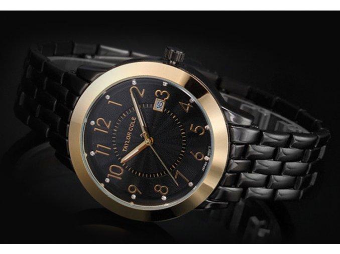 Atraktivní dámské hodinky Taylor Cole Aglaia zlato-černé s datumem