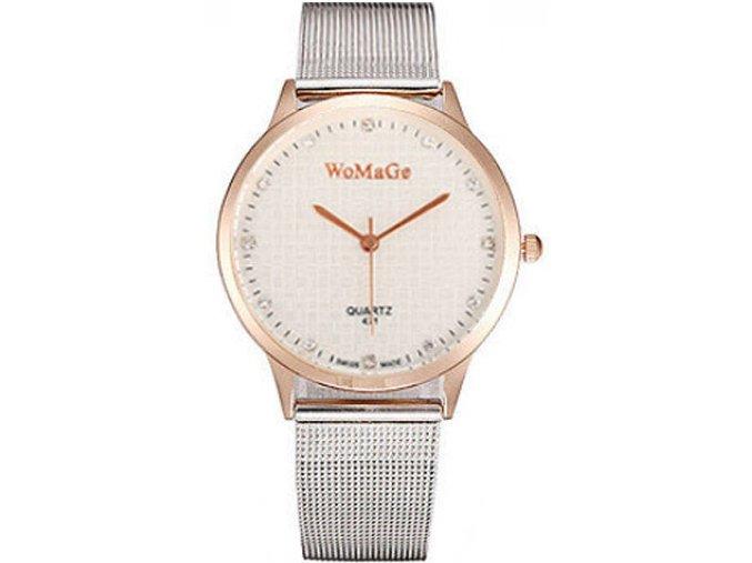 Elegantní dámské hodinky WoMaGe - tenké větší s růžovým zlatem