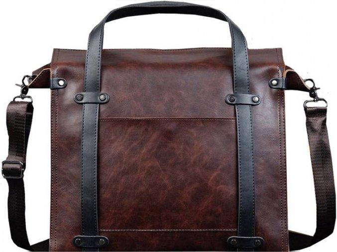 Pánská velká kožená taška XXL - hnědá