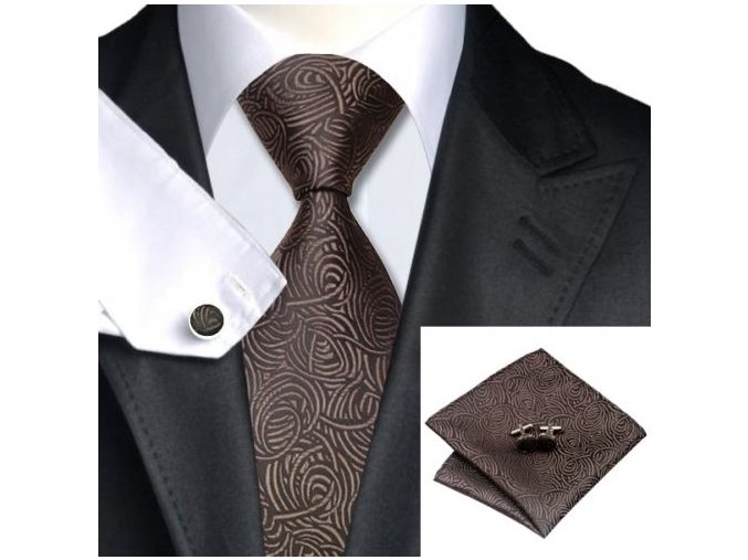 Kravatový set s texturou hnědý, 100% hedvábí
