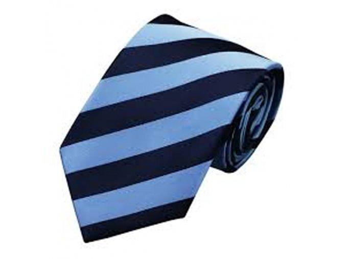 Pánská kravata s širokými pruhy modrá, hedvábná