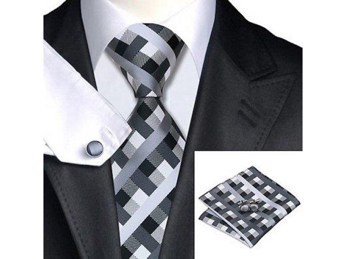 Kravatový set kostkovaný šedý, 100% hedvábí