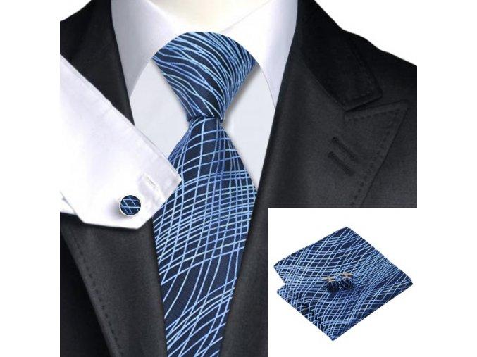 Kravatový set s modrou kresbou, 100% hedvábí