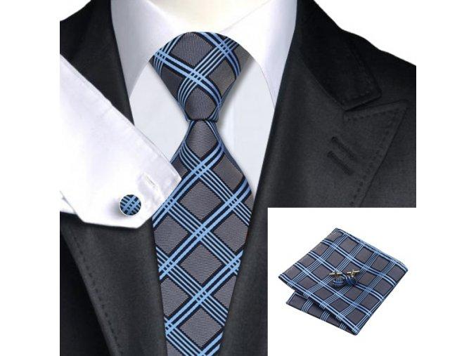 Kravatový set károvaný šedo-modrý, 100% hedvábí