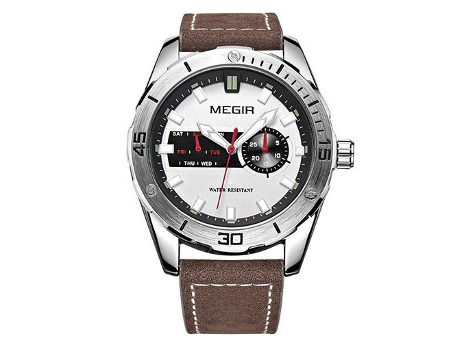 Módní hodinky Megir M1063, čas, datum, den - bílé