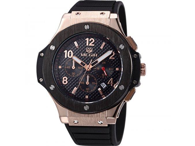 Atraktivní hodinky Megir M2035 černo-zlaté - čas, datum, 24h. pásmo, chronograf