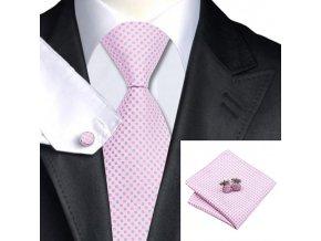 Kravatový set světle růžový, 100% hedvábí