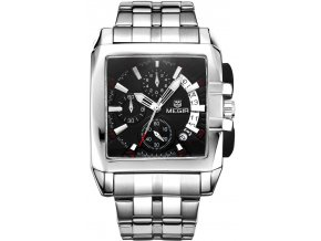 Atraktivní hodinky Megir s chronografem - stříbrné