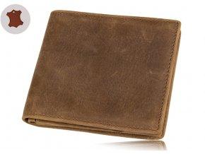 Luxusní peněženka z pravé kůže - hnědá světlá
