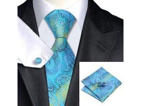 Kravatový set modrý azurový s texturou, 100% hedvábí