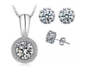 Atraktivní set: Přívěsek a náušnice s kulatými kamínky - bílý
