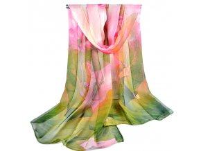 Šátek z lehkého šifonu Spring - růžovo-zelený