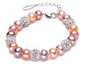 Atraktivní perlový náramek se stříbrnými korálky - mix barev