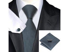 Kravatový set zrnitý černobílý, 100% hedvábí